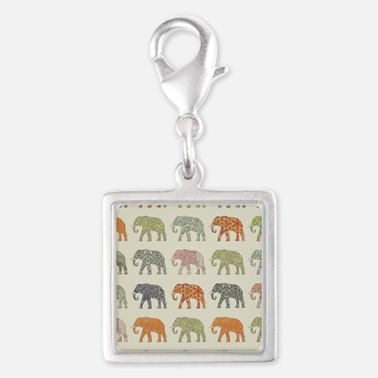 Elephant Colorful Repeating Pattern Decorat Charms