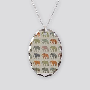 Elephant Colorful Repeating Pa Necklace Oval Charm