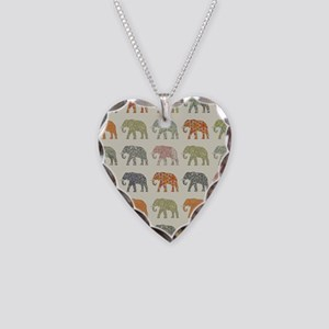 Elephant Colorful Repeating P Necklace Heart Charm