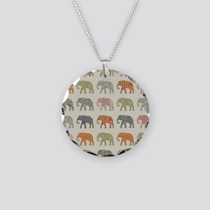Elephant Colorful Repeating Necklace Circle Charm