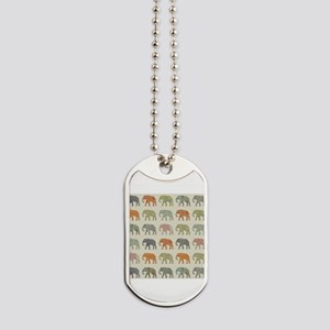 Elephant Colorful Repeating Pattern Decor Dog Tags