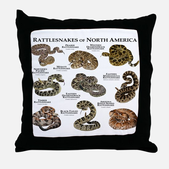 Rattlesnakes of North America Throw Pillow