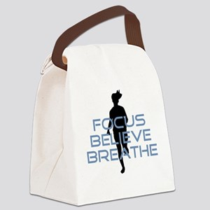 Blue Focus Believe Breathe Canvas Lunch Bag