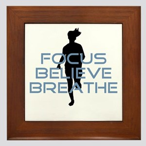 Blue Focus Believe Breathe Framed Tile