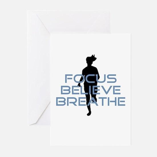 Blue Focus Believe Breathe Greeting Cards (Pk of 1