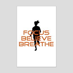 Orange Focus Believe Breathe Mini Poster Print