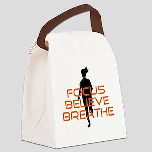 Orange Focus Believe Breathe Canvas Lunch Bag