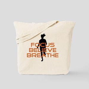 Orange Focus Believe Breathe Tote Bag