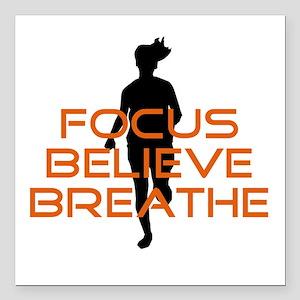 """Orange Focus Believe Breathe Square Car Magnet 3"""""""