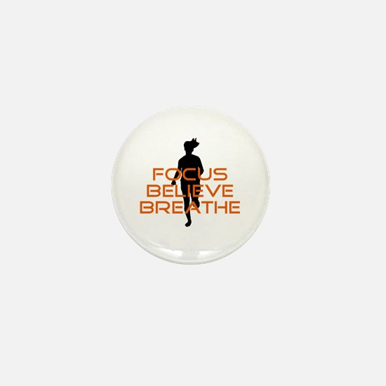 Orange Focus Believe Breathe Mini Button
