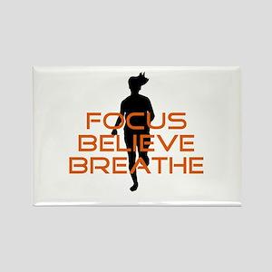 Orange Focus Believe Breathe Rectangle Magnet
