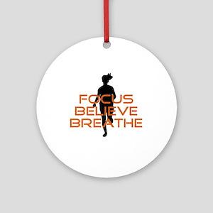 Orange Focus Believe Breathe Ornament (Round)