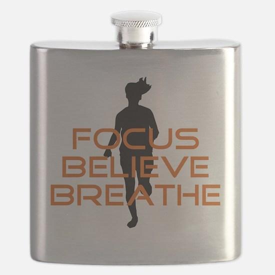 Orange Focus Believe Breathe Flask