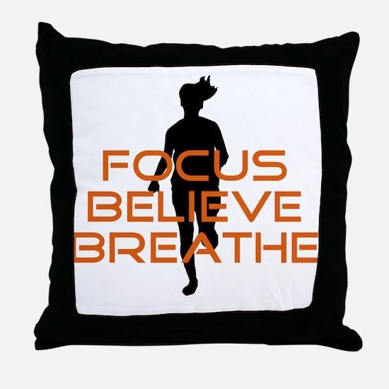 Orange Focus Believe Breathe Throw Pillow