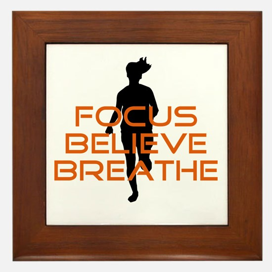 Orange Focus Believe Breathe Framed Tile