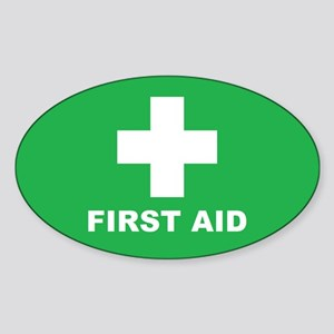 First Aid (W/G) Sticker (Oval)