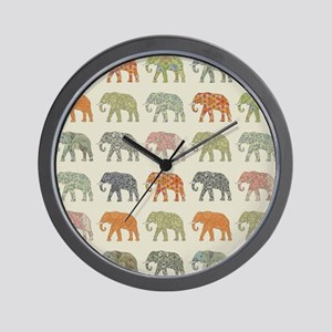 Elephant Colorful Repeating Pattern Dec Wall Clock