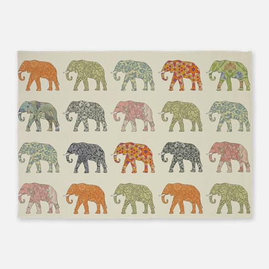 Elephant Colorful Repeating Pattern 5'x7'Area Rug