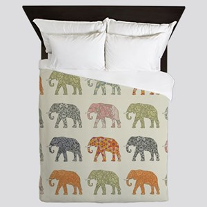 Elephant Colorful Repeating Pattern De Queen Duvet