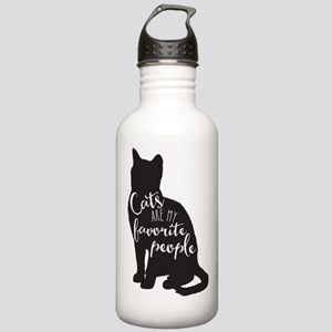 Cats are my favorite people Water Bottle
