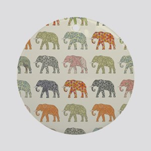 Elephant Colorful Repeating Pattern Round Ornament
