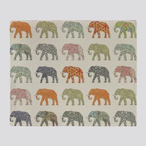 Elephant Colorful Repeating Pattern Throw Blanket