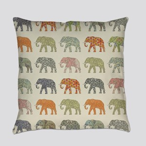 Elephant Colorful Repeating Patter Everyday Pillow