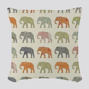 Elephant Colorful Repeating Pa Woven Throw Pillow