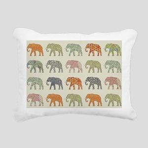 Elephant Colorful Repeat Rectangular Canvas Pillow