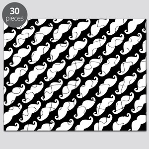 Funny Diagonal Mustache Print - Black and White Pu