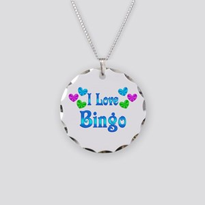 I Love Bingo Necklace Circle Charm