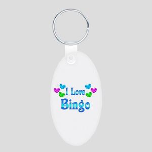 I Love Bingo Aluminum Oval Keychain