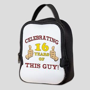 Funny 16th Birthday For Boys Neoprene Lunch Bag