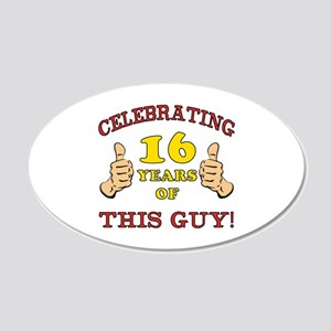 Funny 16th Birthday For Boys 20x12 Oval Wall Decal