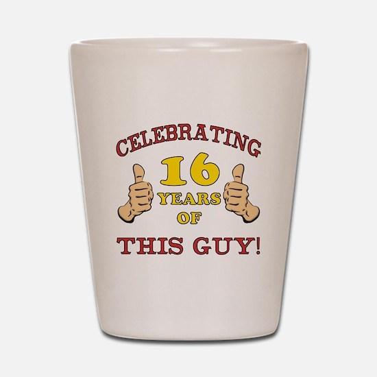 Funny 16th Birthday For Boys Shot Glass