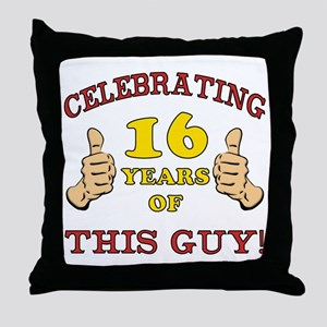 Funny 16th Birthday For Boys Throw Pillow