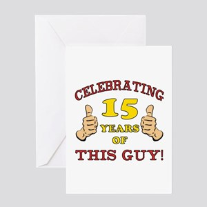 Funny 15th Birthday For Boys Greeting Card