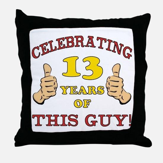 Funny 13th Birthday For Boys Throw Pillow
