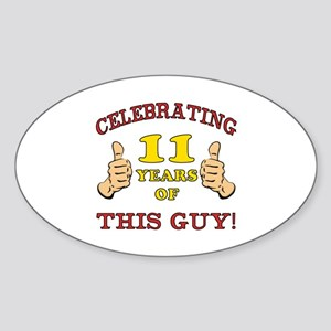 Funny 11th Birthday For Boys Sticker (Oval)