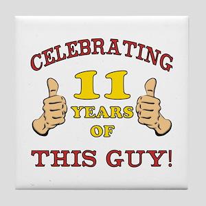 Funny 11th Birthday For Boys Tile Coaster
