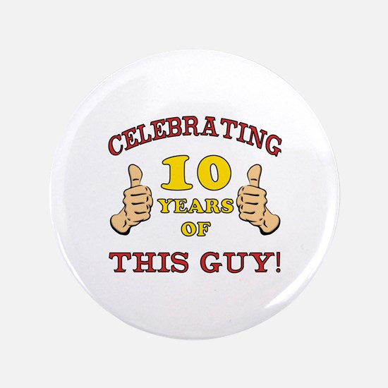 "Funny 10th Birthday For Boys 3.5"" Button (100 pack"