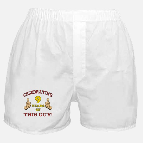 Funny 9th Birthday For Boys Boxer Shorts