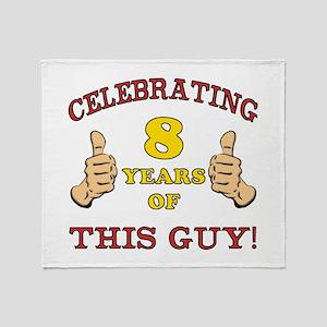 Funny 8th Birthday For Boys Throw Blanket
