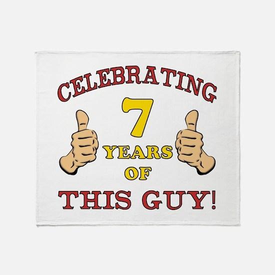 Funny 7th Birthday For Boys Throw Blanket