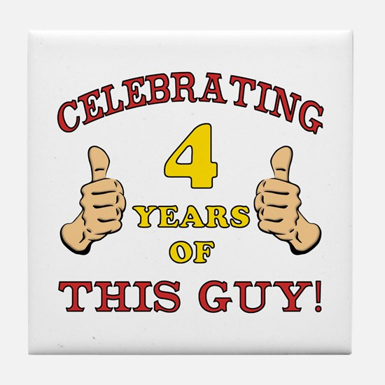 Funny 4th Birthday For Boys Tile Coaster