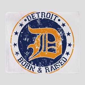 Detroit born and raised Throw Blanket