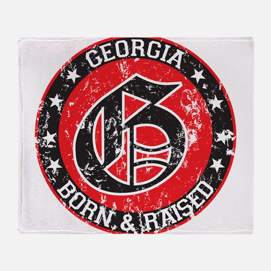Georgia born raised dark Throw Blanket