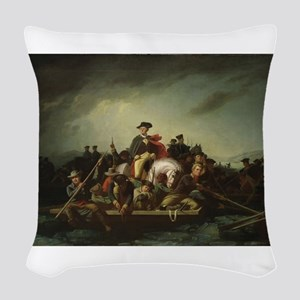 washington at delaware Woven Throw Pillow
