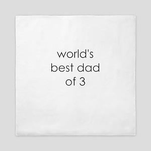worlds best dad of 3 Queen Duvet