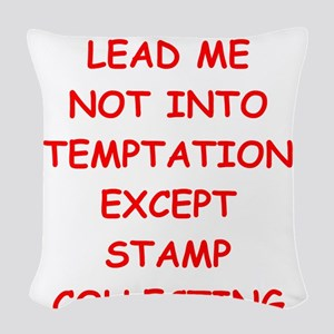 stamp collecting Woven Throw Pillow
